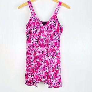 Fit 4 U V-Neck Babydoll Flyaway Swim Dress Pink